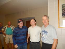 Craig Eby, John and Fred Robertson after Craig tricked Fred into telling his story about the Dieruff/Liberty basketball